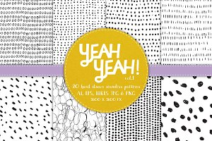 YeahYeah Vol.1 B&W Seamless Patterns