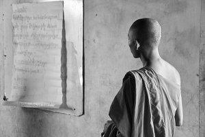 Monk in Class (B&W)