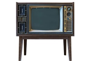 vintage tv or television isolated