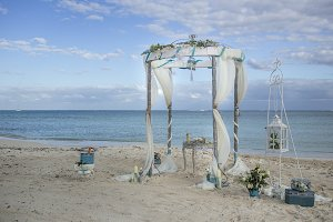 vintage beach wedding gazebo