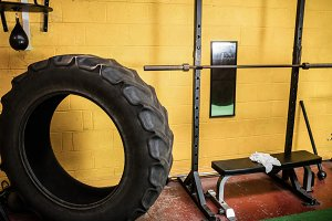 Tyre and workout bench in the fitness studio