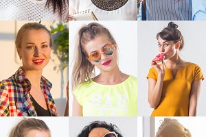 Collection of different many happy smiling young people faces caucasian women and men. Concept business, avatar.