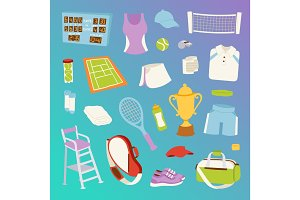 Tennis seamless pattern vector.