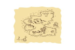 Pirate Treasure Map Sailing Ship