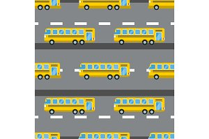City bus seamless pattern vector illustration.