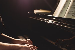 Woman playing a piano