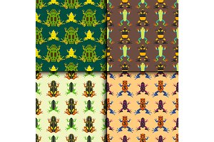 Frog cartoon tropical animal seamless pattern amphibian mascot character wild vector illustration.