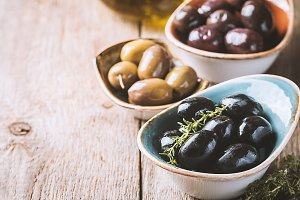 bowls with different kind of olives
