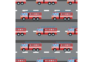 Fire truck car vector illustration seamless pattern cartoon fast emergency service transportation