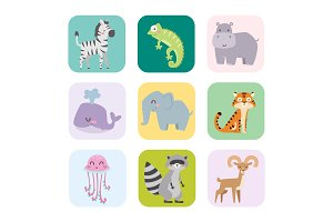 Cute zoo cartoon animals isolated funny wildlife learn cute language and tropical nature safari mammal jungle tall characters vector illustration.