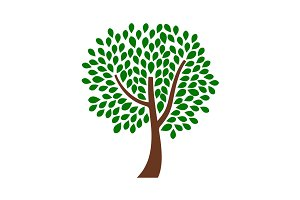 Ornamental tree design with green leaves