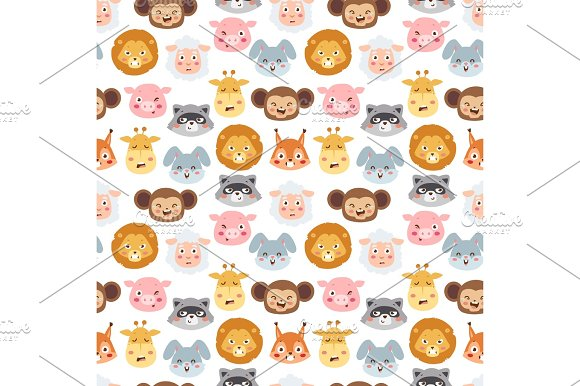 Animal emotion avatar vector illustration icons seamless pattern