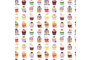 Set of cute vector cupcakes and muffins seamless pattern
