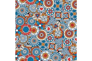 Mandala style flowers blue decorative pattern