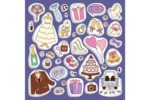 Wedding cartoon icons vector illustration.