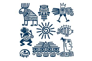 Maya or inca blue totem icons