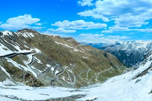 Summer Stelvio pass panorama