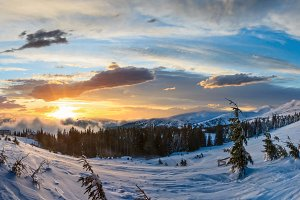 Sunset winter mountain panorama