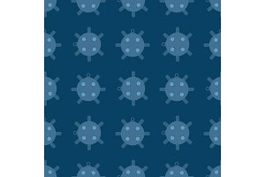 Naval mine seamless pattern vector illustration sea bomb background