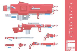 Flat Design Sci Fi Weapon Ranges