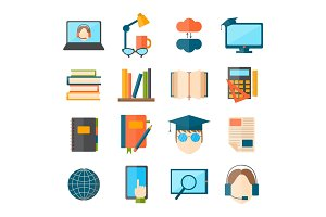 Education and school vector illustration web icon set college training graduate symbols.