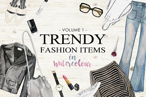 Trendy Fashion Items in Watercolor