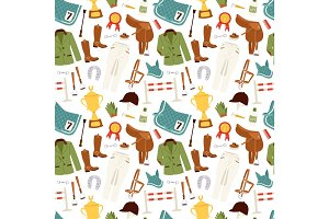 Flat color jockey icons set with equipment seamless pattern vector