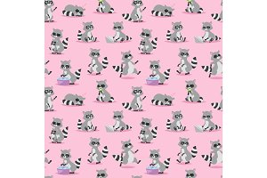 Cartoon raccoon vector illustration seamless pattern