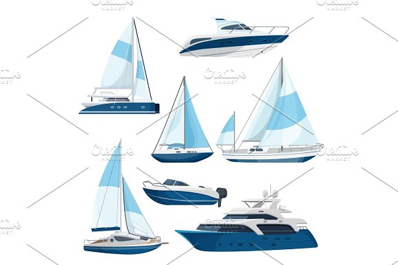 Set Of Boats With Sails One And Double Decked Yachts