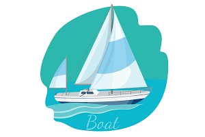 One-decked boat with sails vector illustration isolated on blue