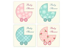 Cute baby shower invitation as retro fabric applique of baby carriage in shabby chic style
