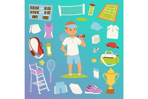 Tennis man character and icons sport vector collection vector