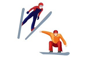 Athlete on skis and professional snowboarder vector illustration isolated