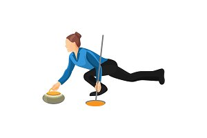 Woman play curling vector illustration isolated on white background.