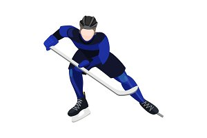 Athlete with ice-hockey stick playing hockey vector illustration