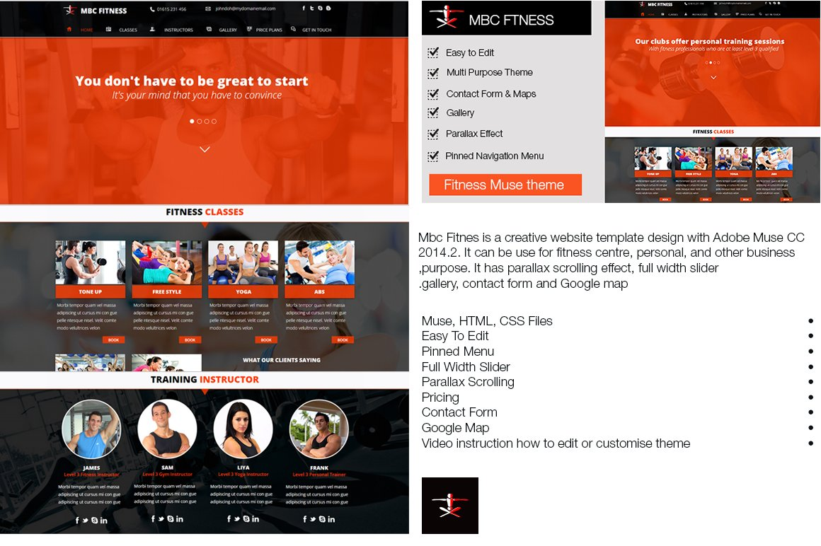 mbc fitness muse template html css themes creative market