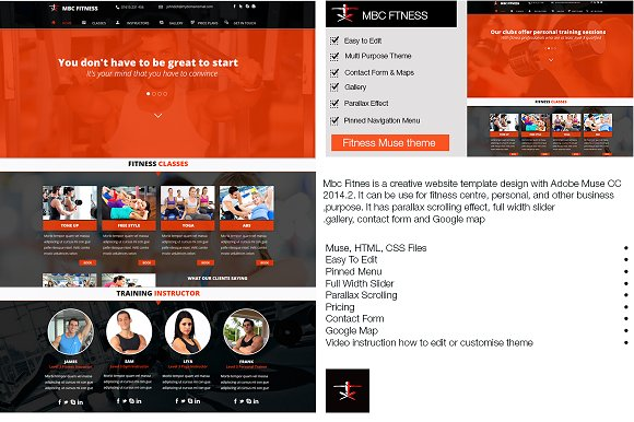 Mbc Fitness Muse Template ~ HTML/CSS Themes ~ Creative Market