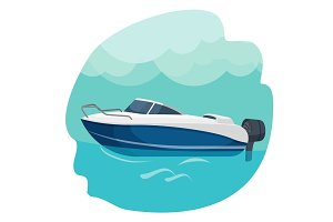 High speed motor boat sailing in sea vector illustration isolated