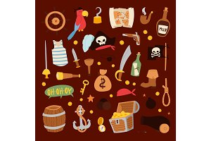 Pirate stickers icons vector collection adventure symbols