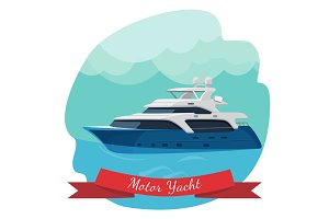Luxury two-deck motor yacht sailing in ocean vector illustration