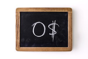 """Value """"0$"""" written on a slate"""