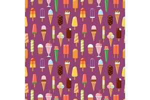 fruit ice cream seamless pattern background vector illustration