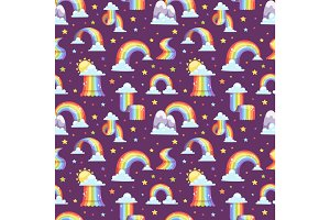 Rainbow vector seamless pattern background illustration