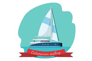 Catamaran sailing boat with canvas vector illustration isolated