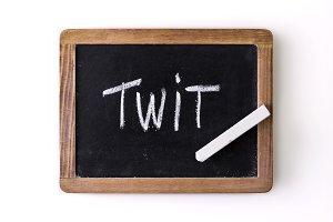 """Word """"Twit"""" written on a slate"""
