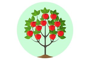 Apple tree with ripe fruits vector illustration in round button.