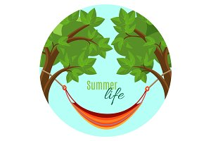 Summer life vector illustration with hammock hanging between green trees