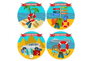 Set of summer holidays posters travelling by land and water concept.