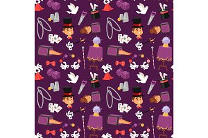 Magician illusionist vector seamless pattern background.