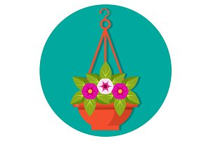 Hanging flower basket with petunias vector illustration isolated